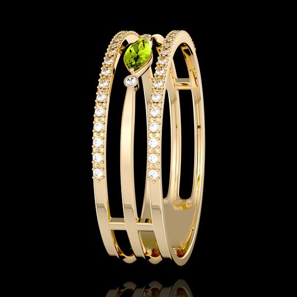 Inel Privire din Orient - model mare - peridot şi diamante - aur galben de 9K