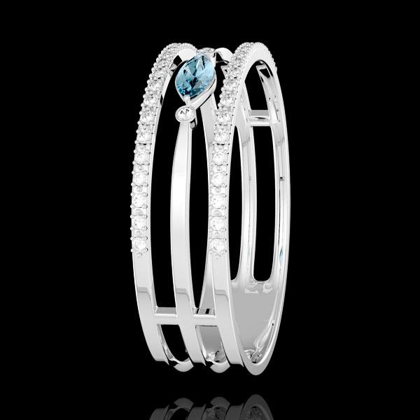 Inel Privire din Orient - model mare - topaz albastru şi diamante - aur alb de 9K