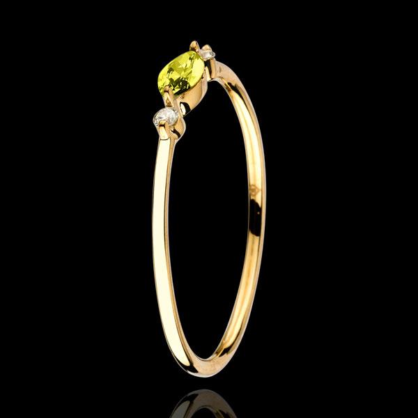 Inel Privire din Orient - model mic - peridot şi diamante - aur galben de 9K