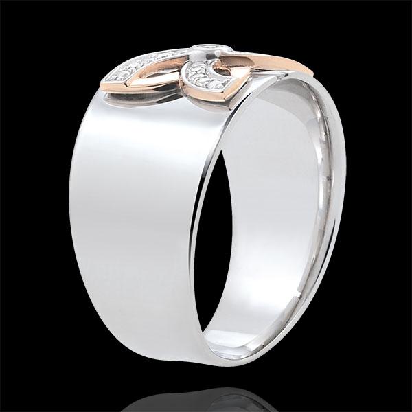 Inel Prospeţime - Crin de Vară - aur alb şi aur roz de 9K