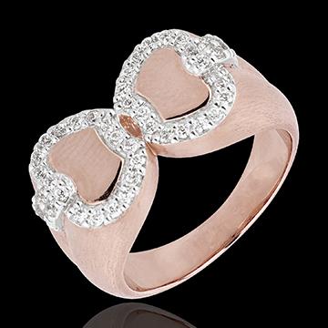 Inel Prospeţime - Mărul Iubirii - aur alb şi aur roz de 18K