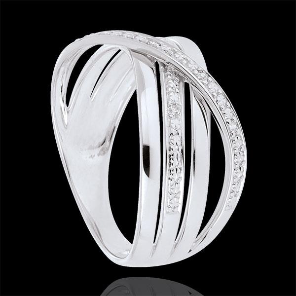 Inel Saturn Cuadri - aur alb de 18K - diamante