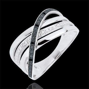 Inel Saturn Cuadri - aur alb de 9K - diamante negre şi albe