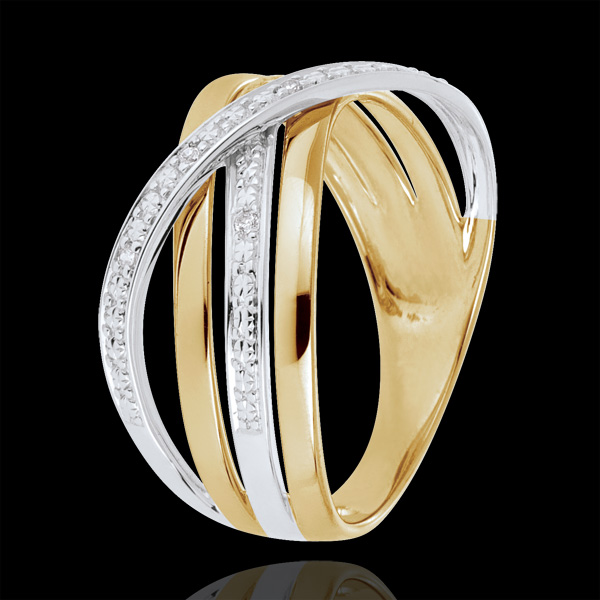 Inel Saturn Cuadri - aur alb şi aur galben de 18K