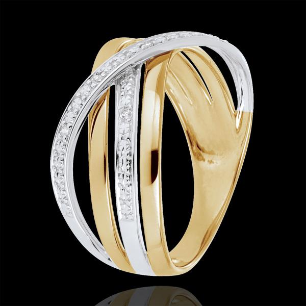 Inel Saturn Cuadri - aur alb şi aur galben de 9K