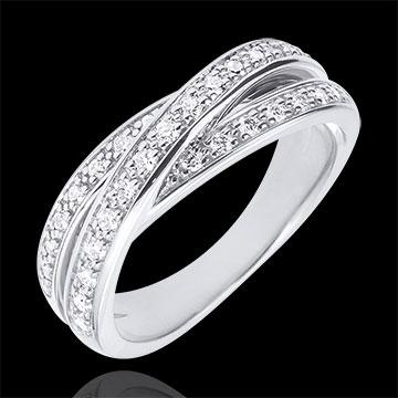 Inel Saturn Diamant - aur alb de 9K - 29 diamante