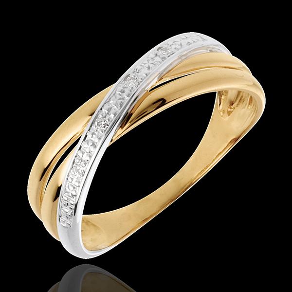 Inel Saturn Duo variantă - 4 diamante - aur alb şi aur galben de 18K