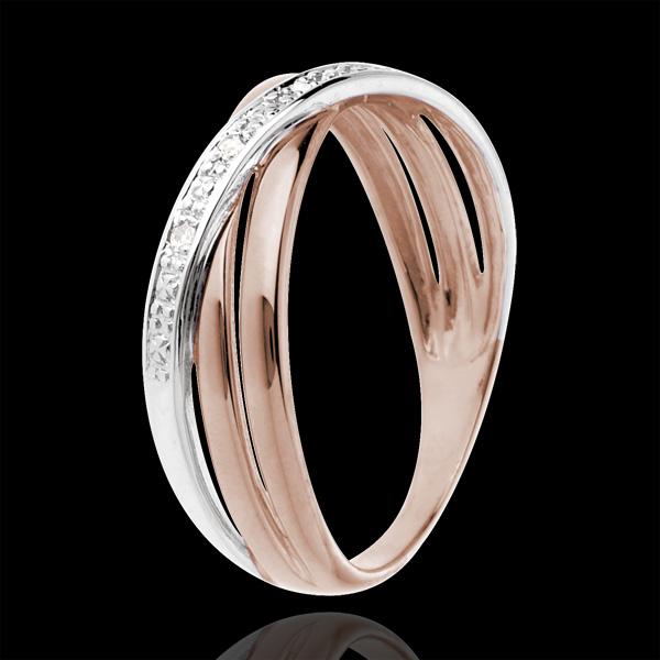 Inel Saturn Duo variantă - 4 diamante - aur alb şi aur roz de 18K