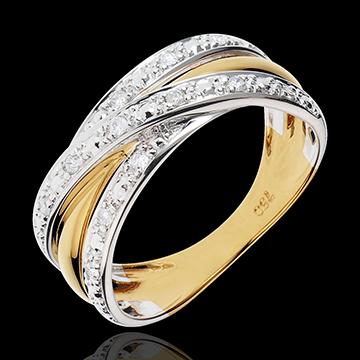 Inel Saturn iluzie - 13 diamante - aur alb şi aur galben de 18K