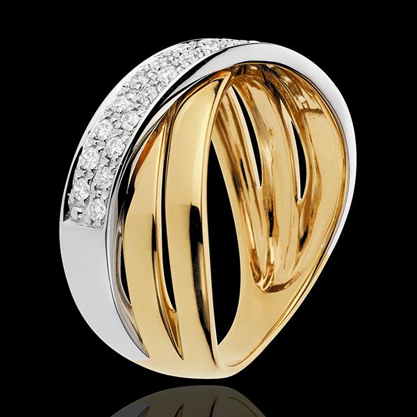 Inel Saturn lat - 26 diamante 0.26 carate - aur alb şi aur galben de 18K