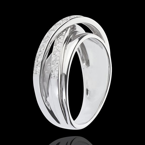 Inel Saturn Oglindă - aur alb de 9K - 23 diamante