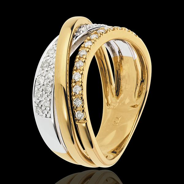 Inel Saturn Regal variantă - aur alb şi aur galben de 18K