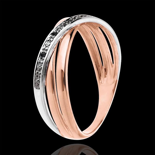 Inel Saturne Duo variantă - aur alb şi aur roz de 18K şi diamante negre