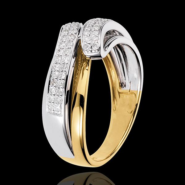 Inel Seninătate - 56 diamante de 0.28 carate - aur alb şi aur galben de 18K