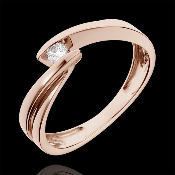 Inel solitaire aur roz de 18K Ondine - 0.07 carate