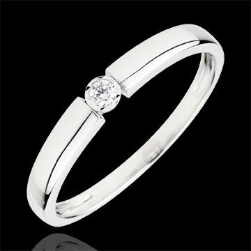 Inel Solitaire Comoară - diamant 0.04 carate - aur alb de 18K