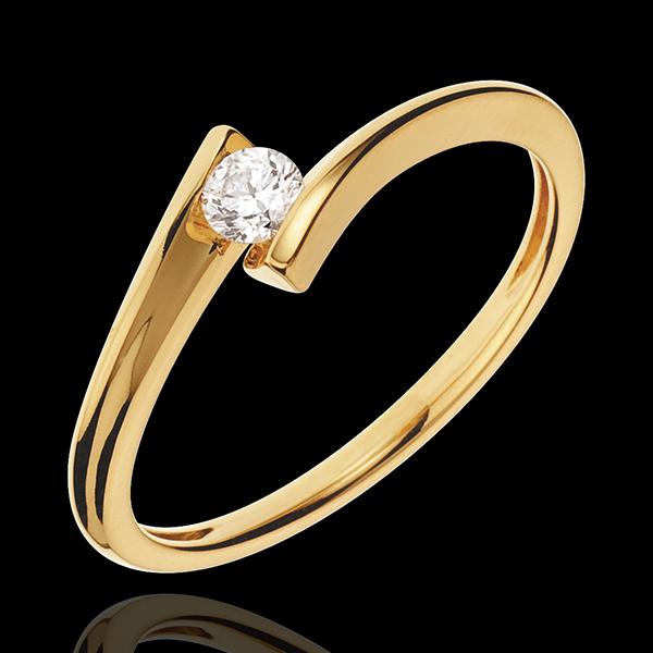 Inel Solitaire Cuib Preţios - Apostrof - aur galben de 18K - diamant de 0.13 carate