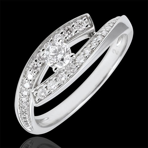 Inel Solitaire Cuib Preţios - Diva - aur alb de 18K - model mic - 0.08 carate