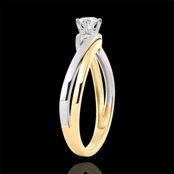 Inel solitaire Cuib Preţios - Dova - diamant 0.15 carate - aur alb şi aur galben de 9K