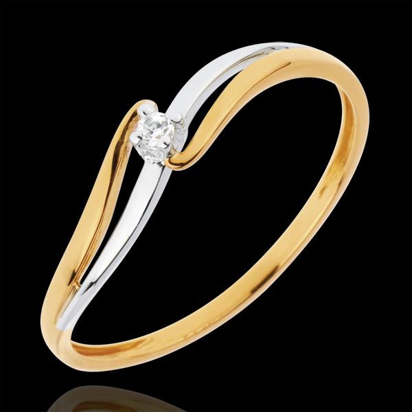 Inel Solitaire Cuib Preţios - Eloise - aur alb şi aur galben de 18K