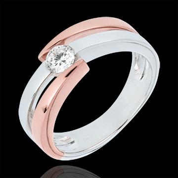 Inel Solitaire Cuib Preţios - Inch'Allah - diamant 0.25 carate - aur alb şi aur roz de 18K