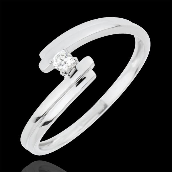 Inel Solitaire Cuib Preţios - Iubire Veşnică - aur alb de 18K