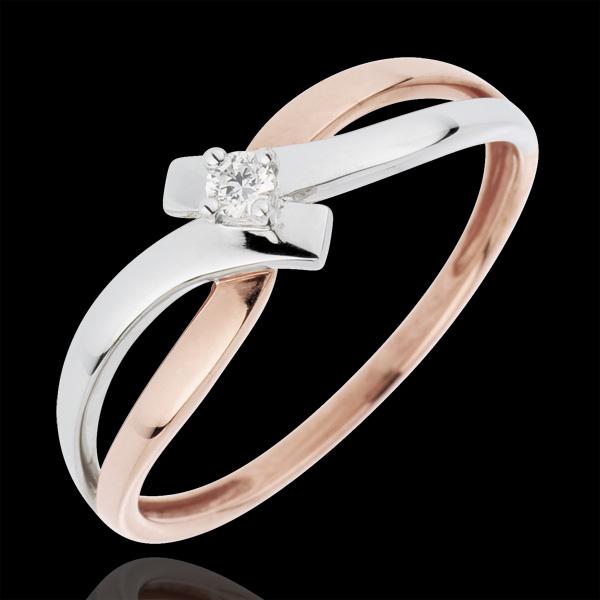 Inel Solitaire Cuib Preţios - Lumină - diamant 0.05 carate - aur alb şi aur roz de 18K
