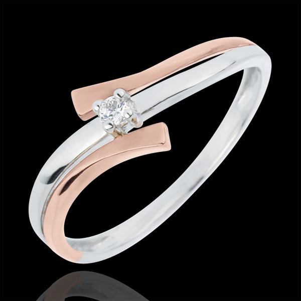 Inel Solitaire Cuib Preţios - Lumină variantă - diamant 0.032 carate - aur alb şi aur roz de 18K