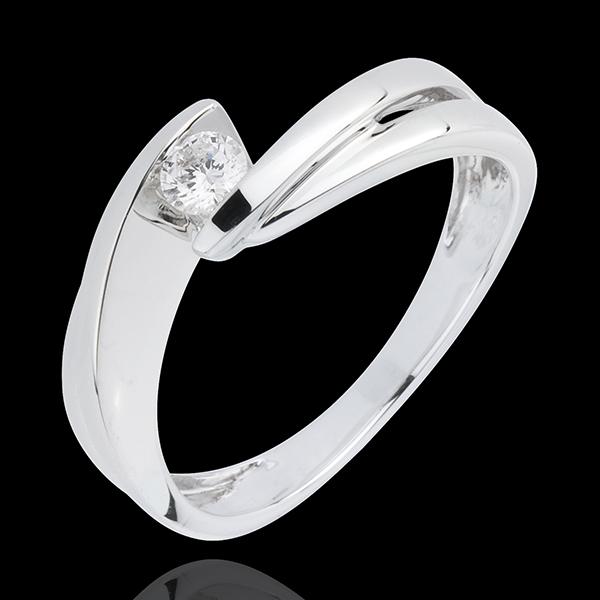 Inel Solitaire Cuib Preţios - Mont diamant - aur alb de 18K