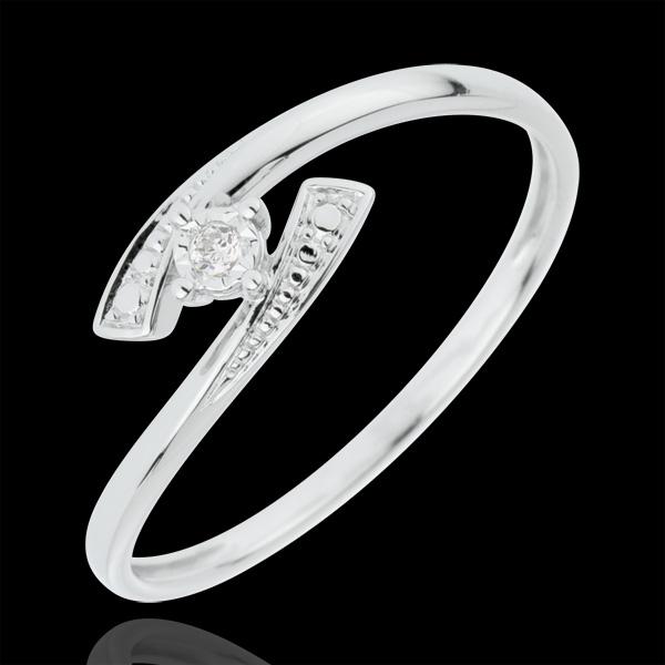 Inel solitaire Cuib Preţios - Răspunde Da - aur alb de 18K