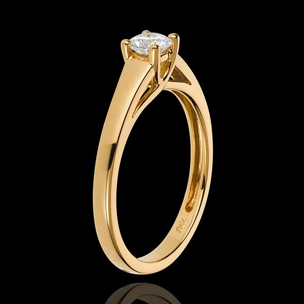 Inel solitaire Diademă aur galben de 18K - diamant 0.34 carate