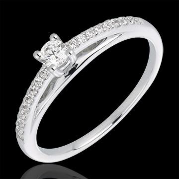 Inel solitaire diamant Avalon aur alb de 18K