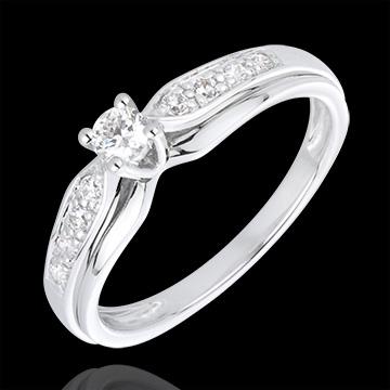 Inel Solitaire Diamant Salma aur alb de 18K - diamant 0.13 carate