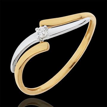 Inel Solitaire Evadare - diamant 0.04 carate - aur alb şi aur galben de 18K