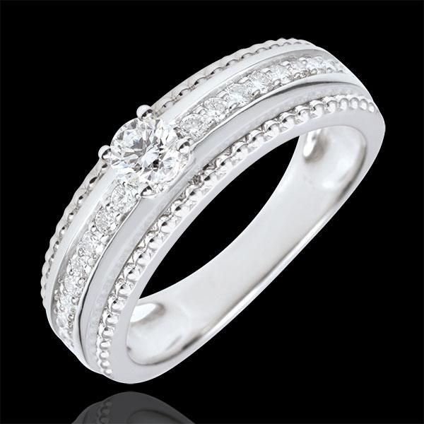 Inel Solitaire - Floare de Sare - două inele - 0.18 carate - aur alb de 9K