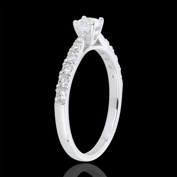 Inel Solitaire Frumoasă Iubită aur alb de 18K - diamant 0.3 carate