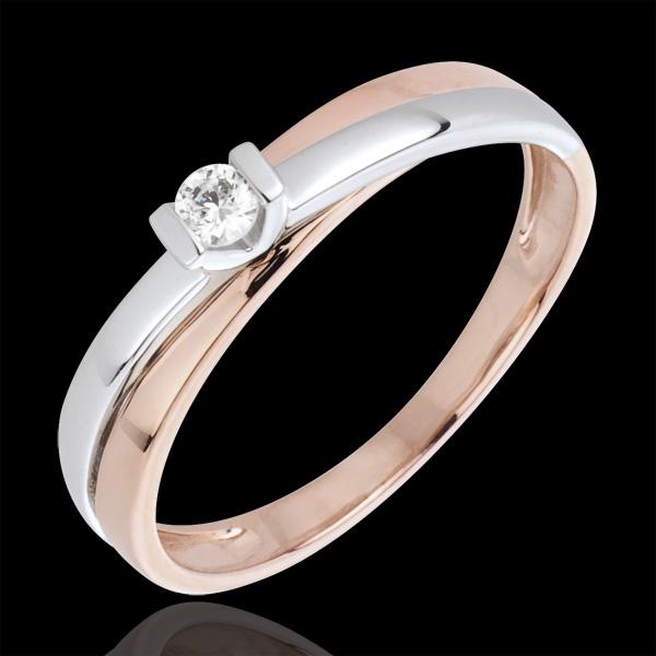 Inel solitaire Licărire - 0.07 carate - aur alb şi aur roz de 18K
