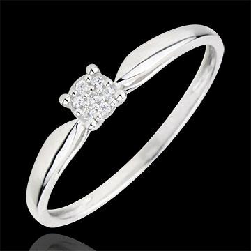 Inel Solitaire Miriadă de stele- 0.04 carate - aur alb de 18K