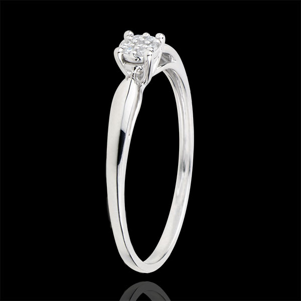 Inel Solitaire Miriadă de stele - diamant 0.04 carate - aur alb de 9K