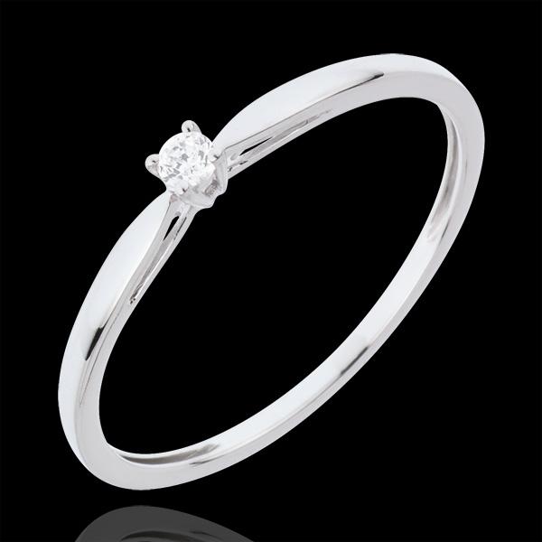 Inel Solitaire Mlădiere - 0.04 carate - aur alb de 18K