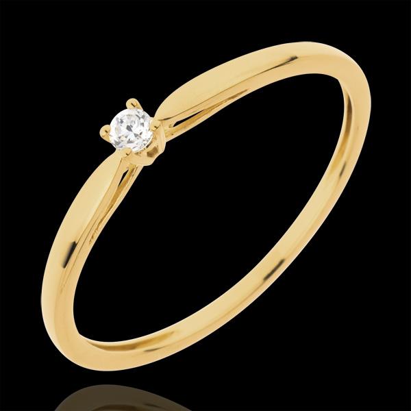 Inel Solitaire Mlădiere - 0.04 carate - aur galben de 18K