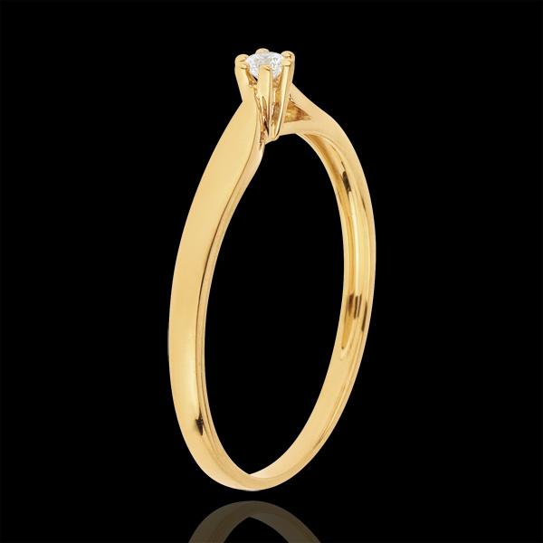 Inel solitaire Mlădiere 6 gheruţe - 0.05 carate - aur galben de 18K