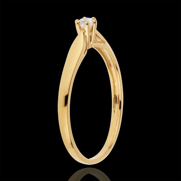 Inel solitaire Mlădiere - 6 gheruţe - 0.07 carate - aur galben de 18K