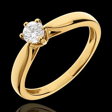 Inel Solitaire Mlădiere 6 gheruţe - aur galben de 18K - 0.3 carate