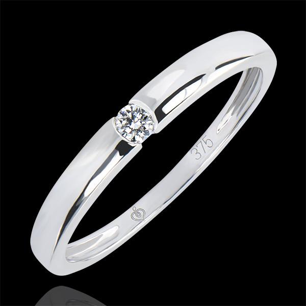 Inel Solitaire Origini - One - aur alb 18K şi diamante