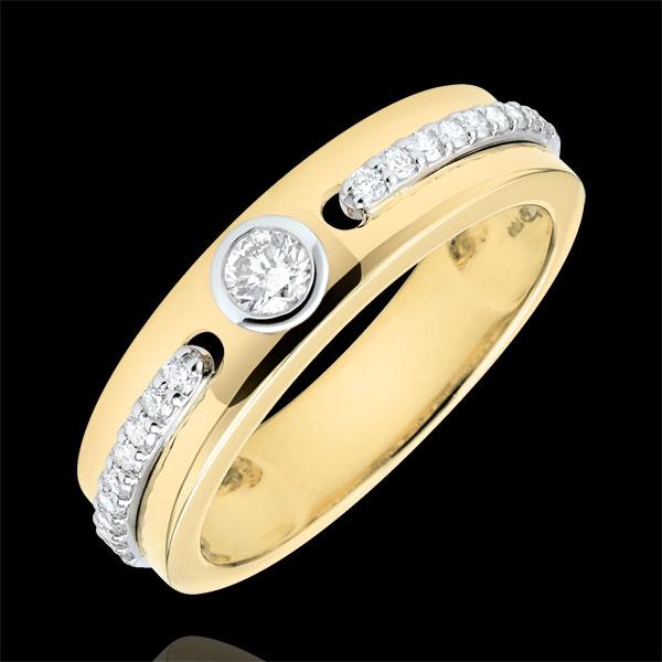 Inel Solitaire Promisiune - aur galben de 9K şi diamante