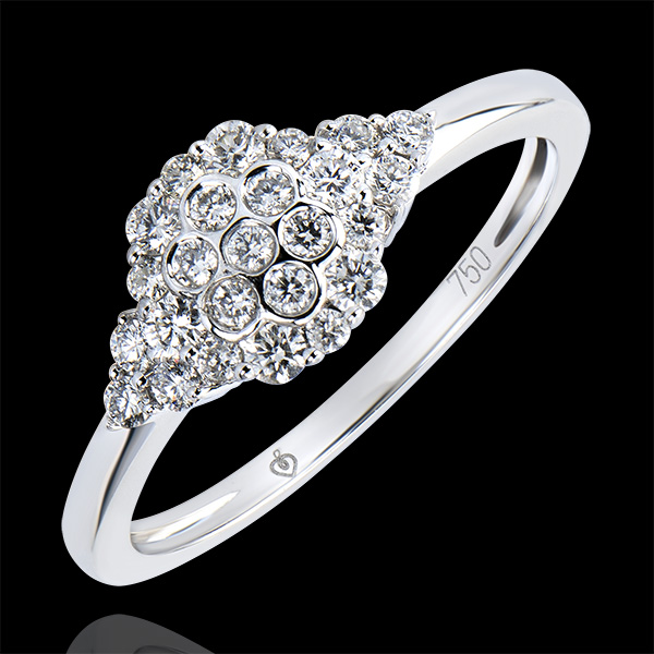 Inel Solitaire Prospeţime - Cuib de albine - aur alb 9K şi diamante