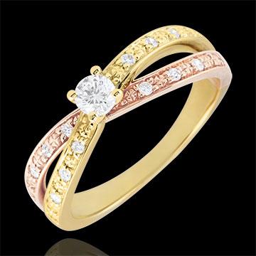 Inel Solitaire Saturn Duo diamant dublu 0.15 carate - aur galben şi aur roz de 18K