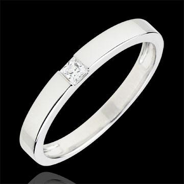 Inel Solitaire Simplu - diamant tăiat Princess de 0.08 carate - aur alb de 18K