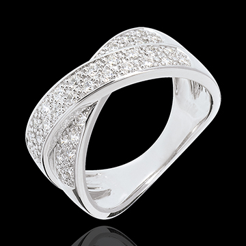 Inel tandem pavat - 0.5 carate - 36 diamante - aur alb de 18K